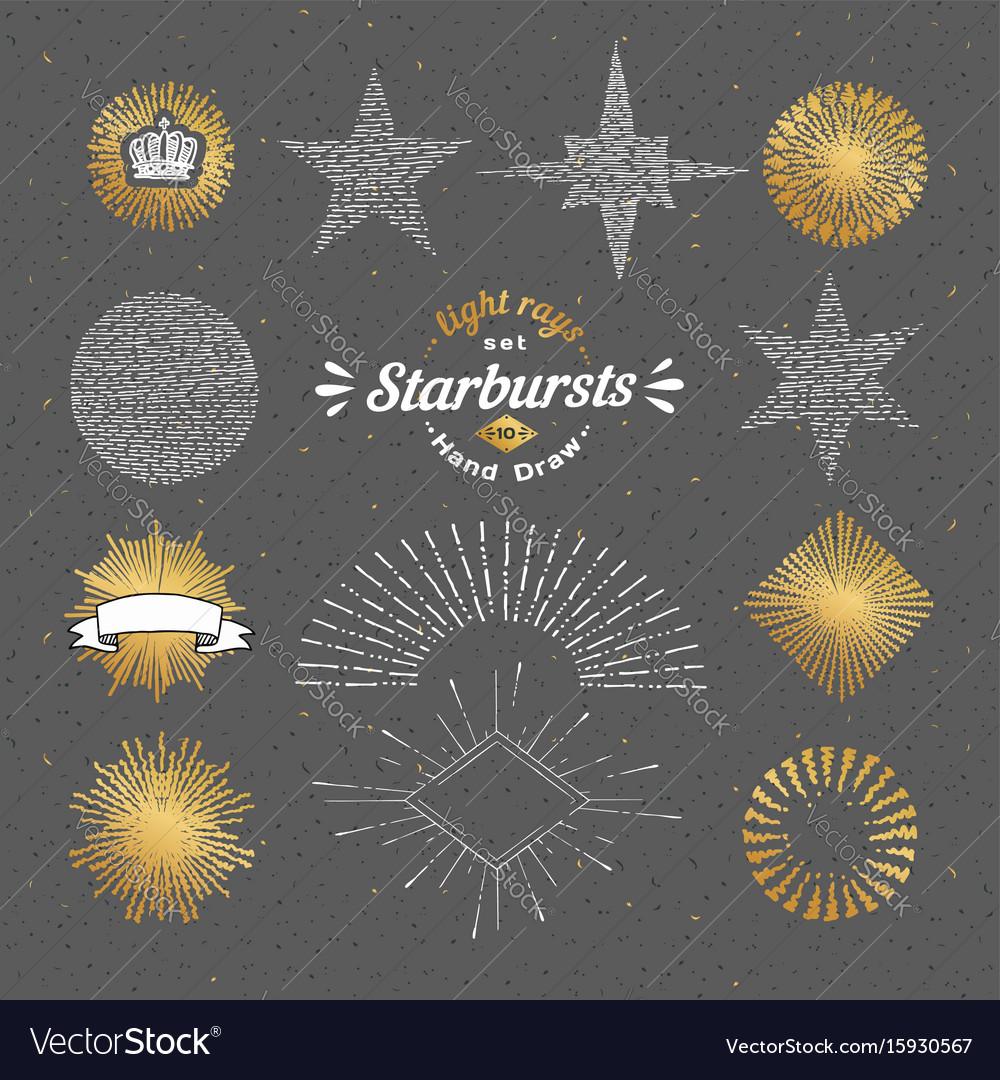 Set of handmade sunburst design elements