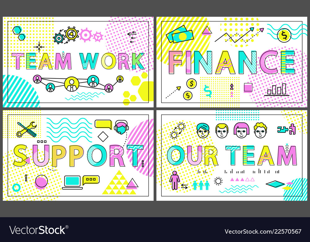 Successful business posters with linear icons