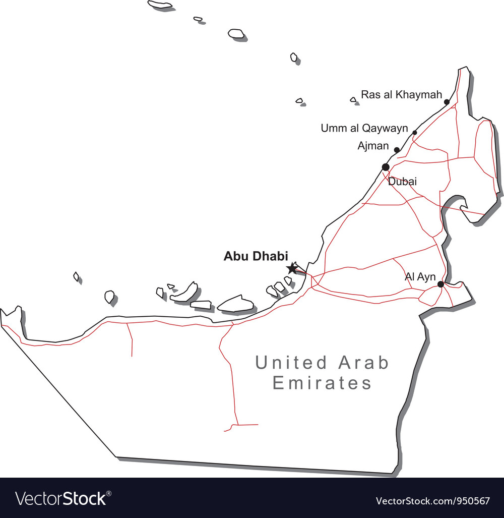 United Arab Emirates Black White Map Royalty Free Vector