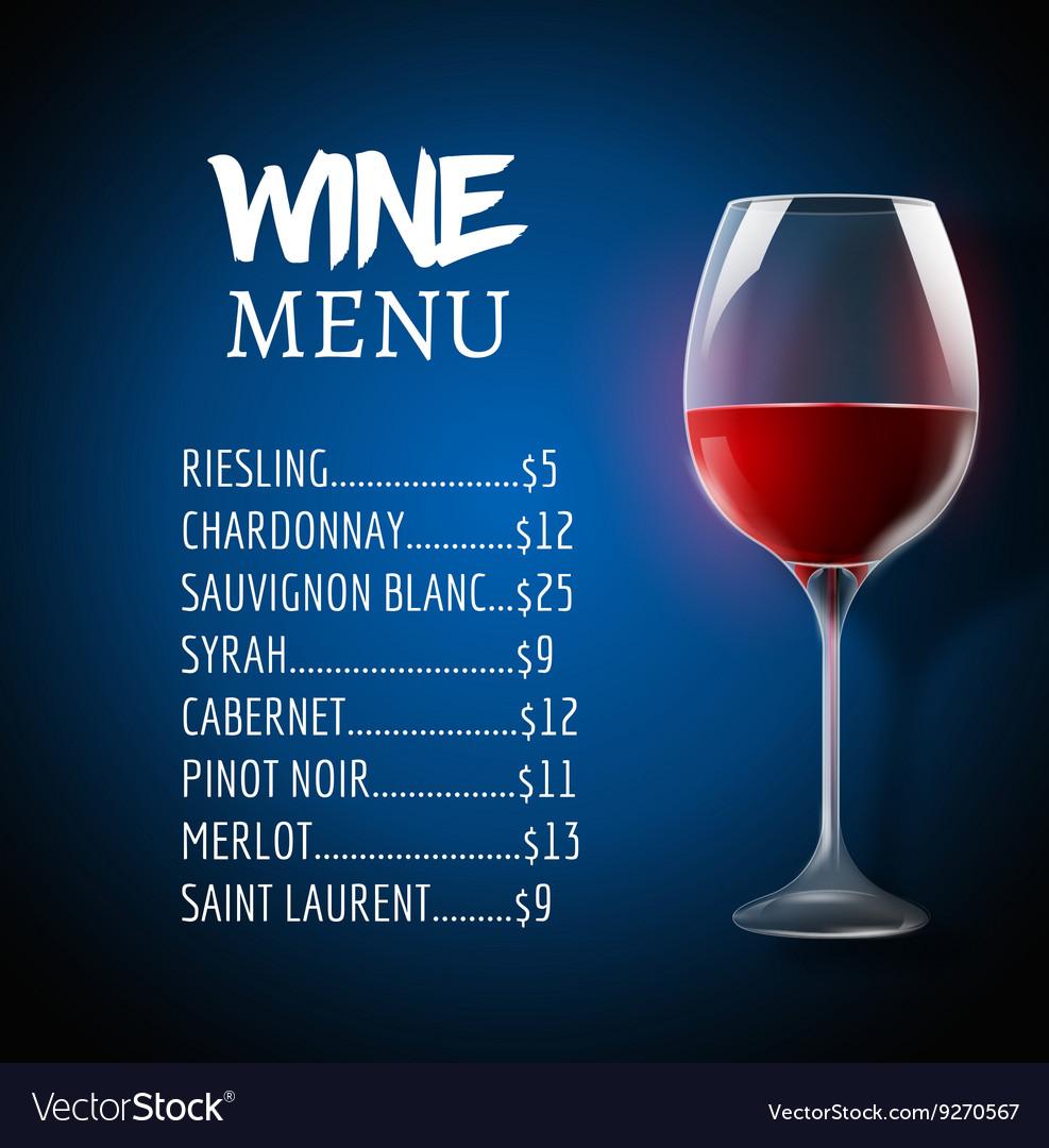 Wine menu card design template Wine list template