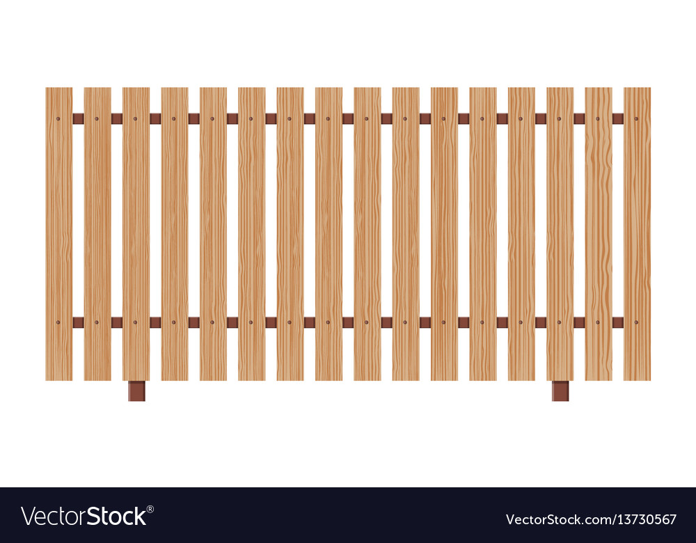 Wooden fence on white background vector image