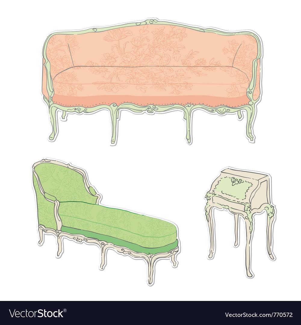 Rococo Sofa Royalty Free Vector Image