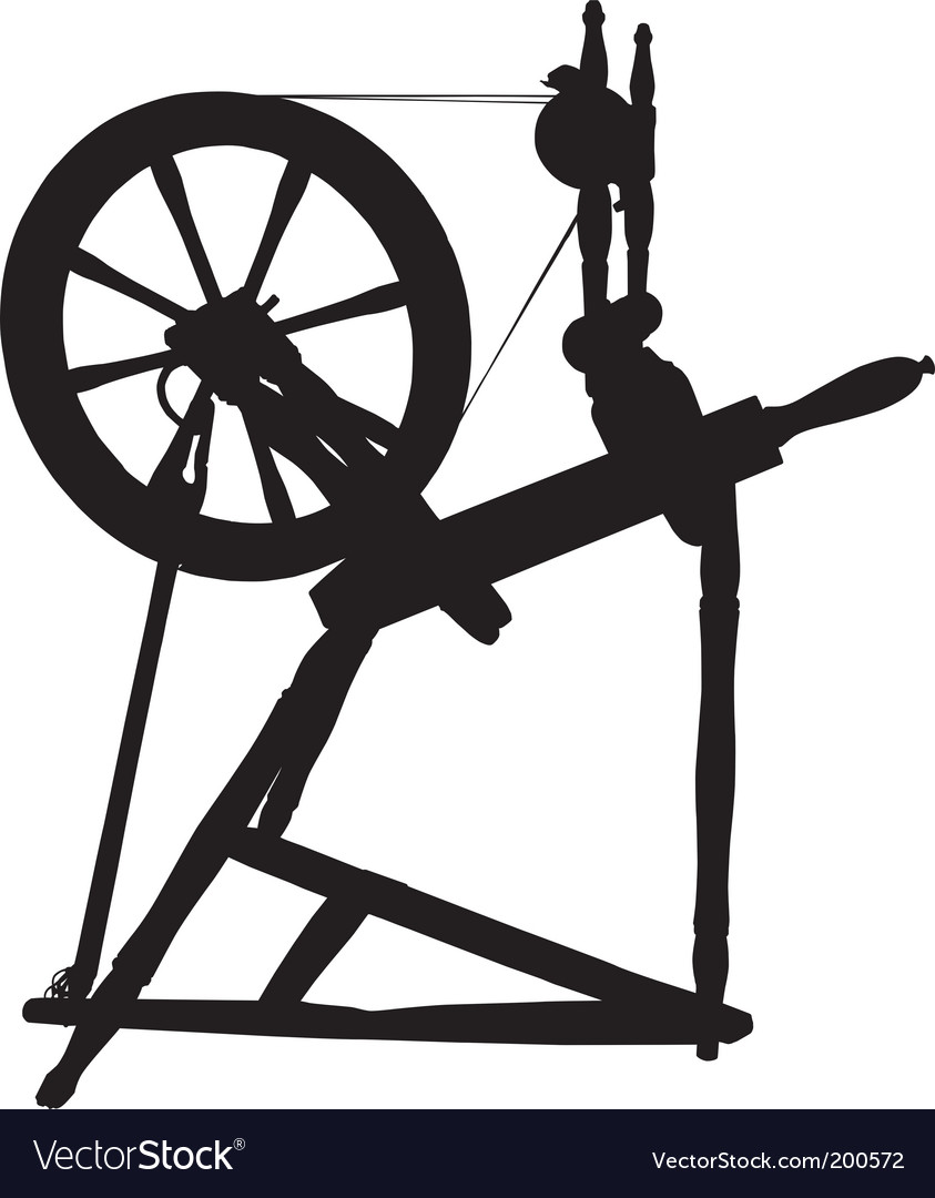 Antique spinning wheel vector image