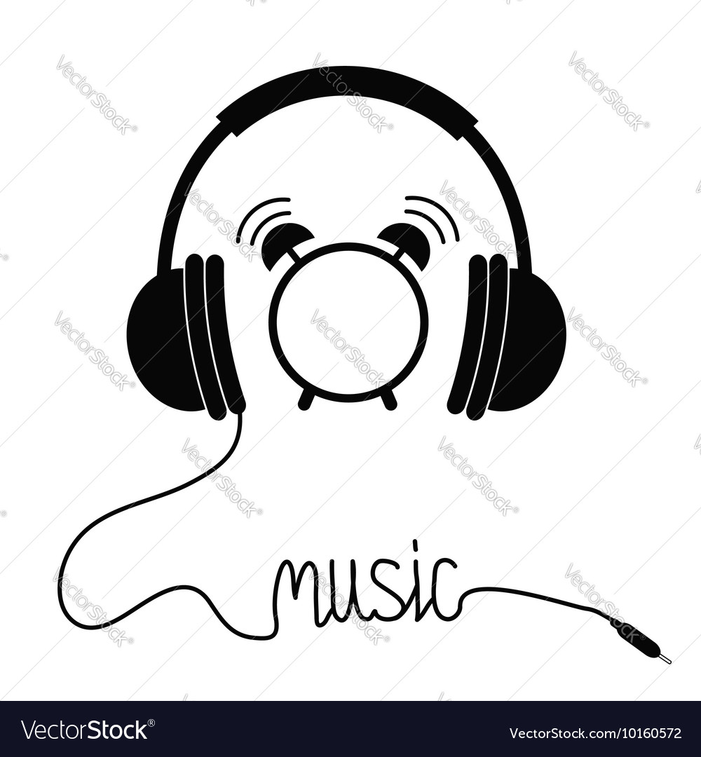 Black headphones with cord in shape of word Music
