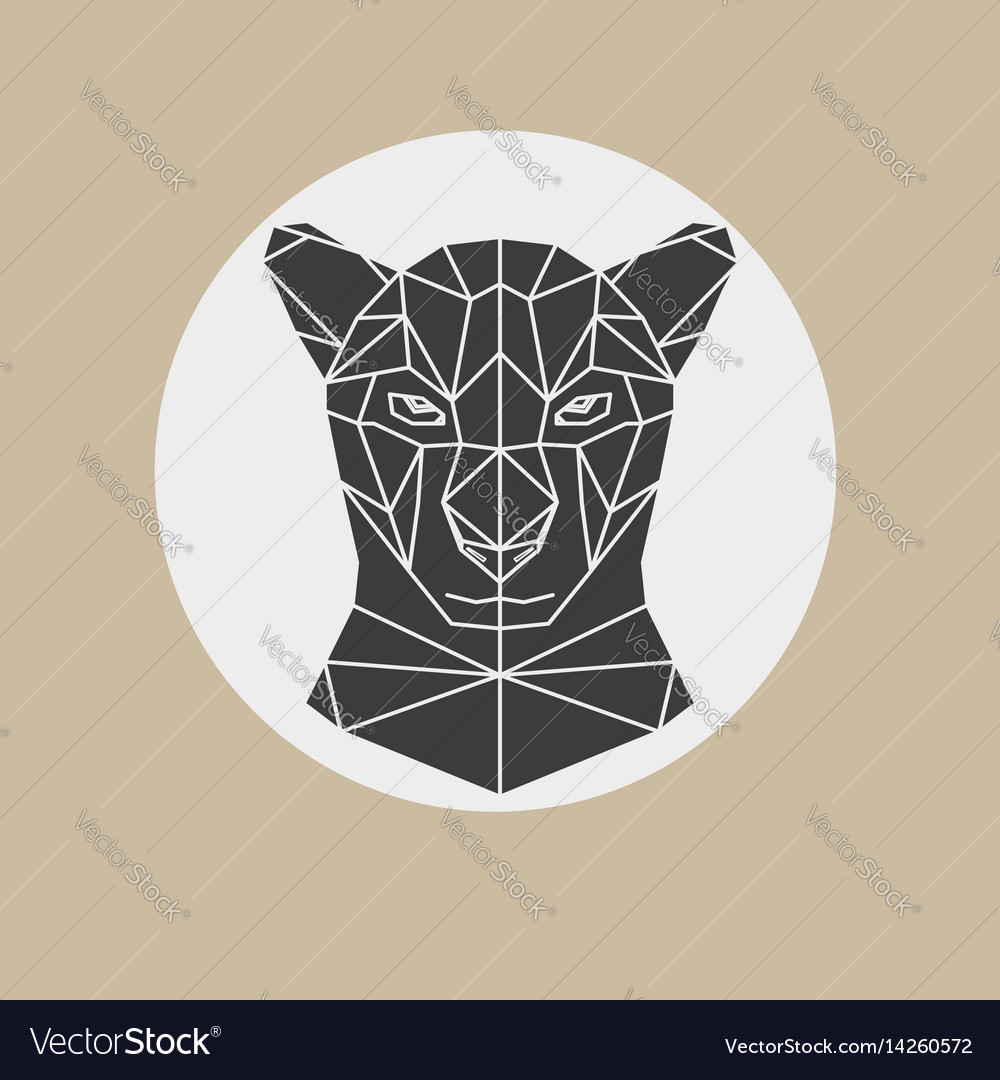 Black panther head geometric vector image