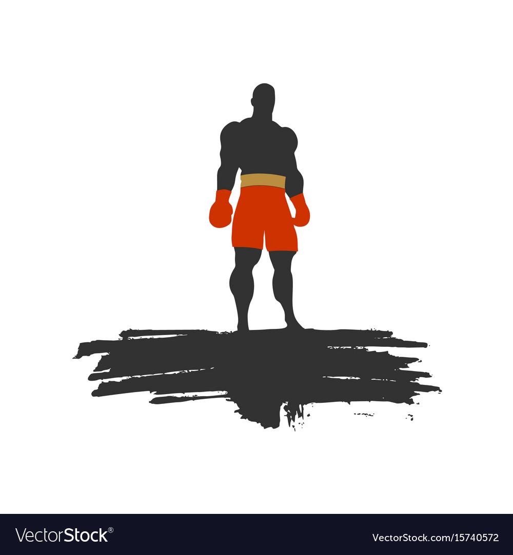 Boxer silhouette sportsman posing vector image