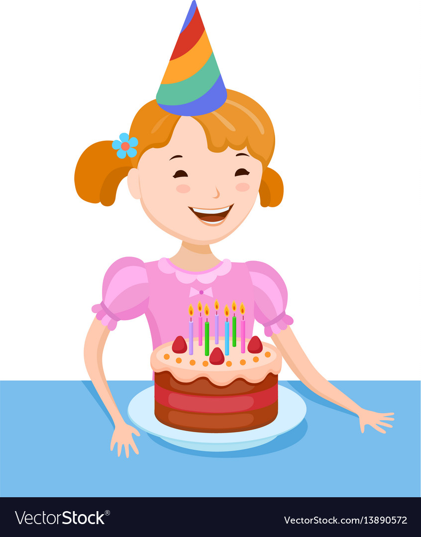Celebrating the birthday cute cartoon girl vector image