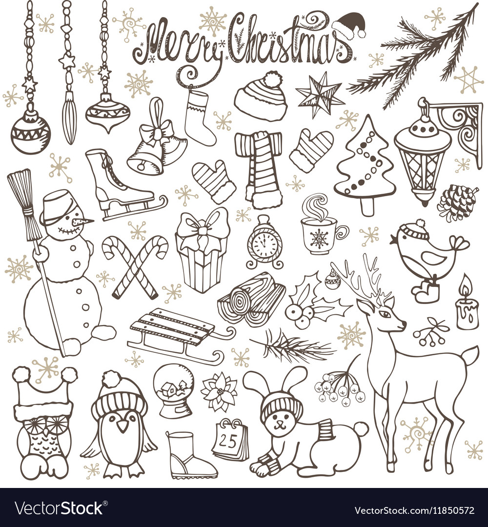 Christmas season doodle iconsanimalsRetro