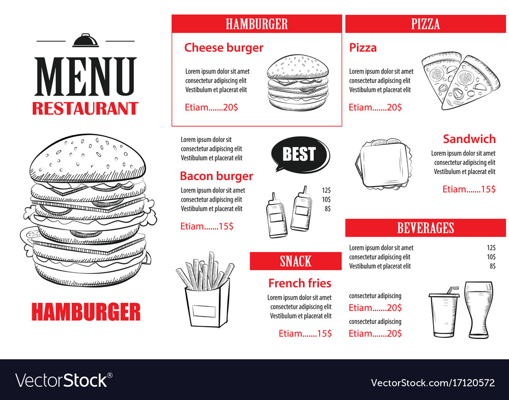 Fast food menu design template restaurant or cafe vector