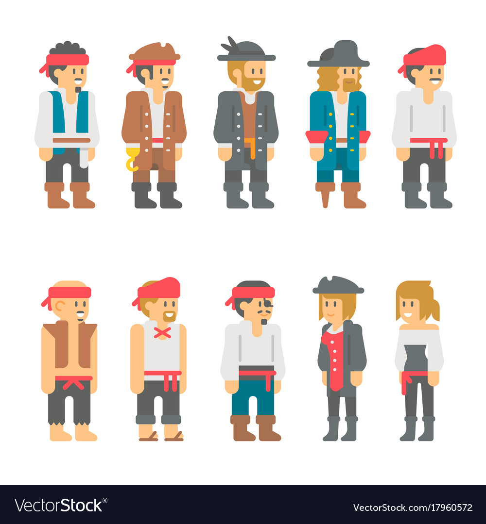 Flat design pirate characters set