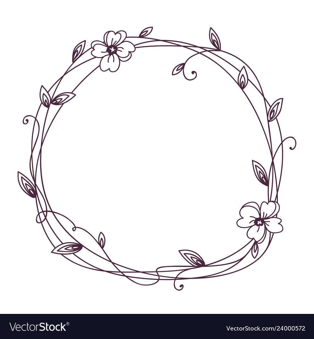 Floral frame wreath with stylized leaves