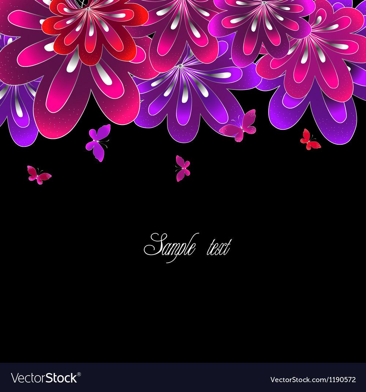 Flower Pink On Black Background Royalty Free Vector Image
