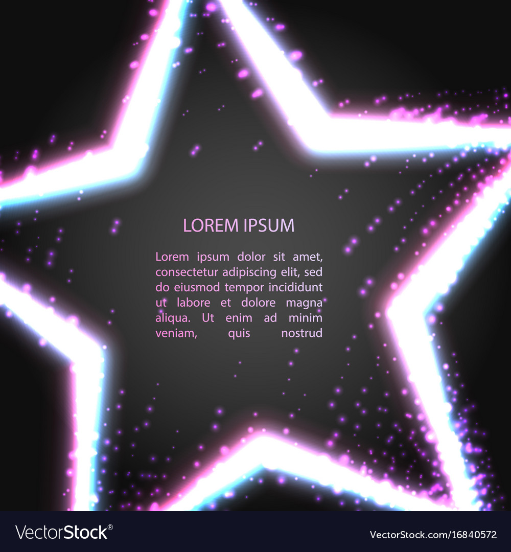 Greeting card with neon star vector image