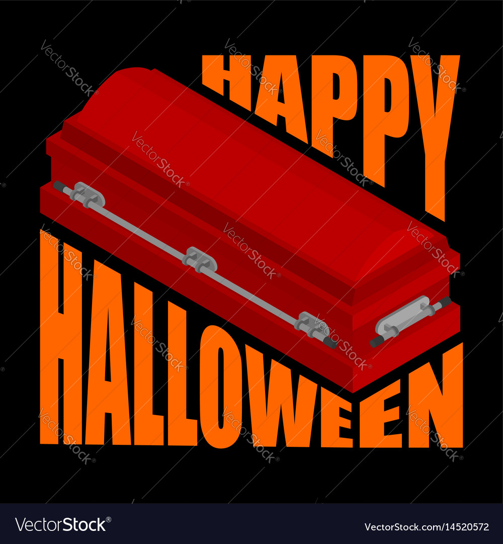 Happy halloween coffin and typography for