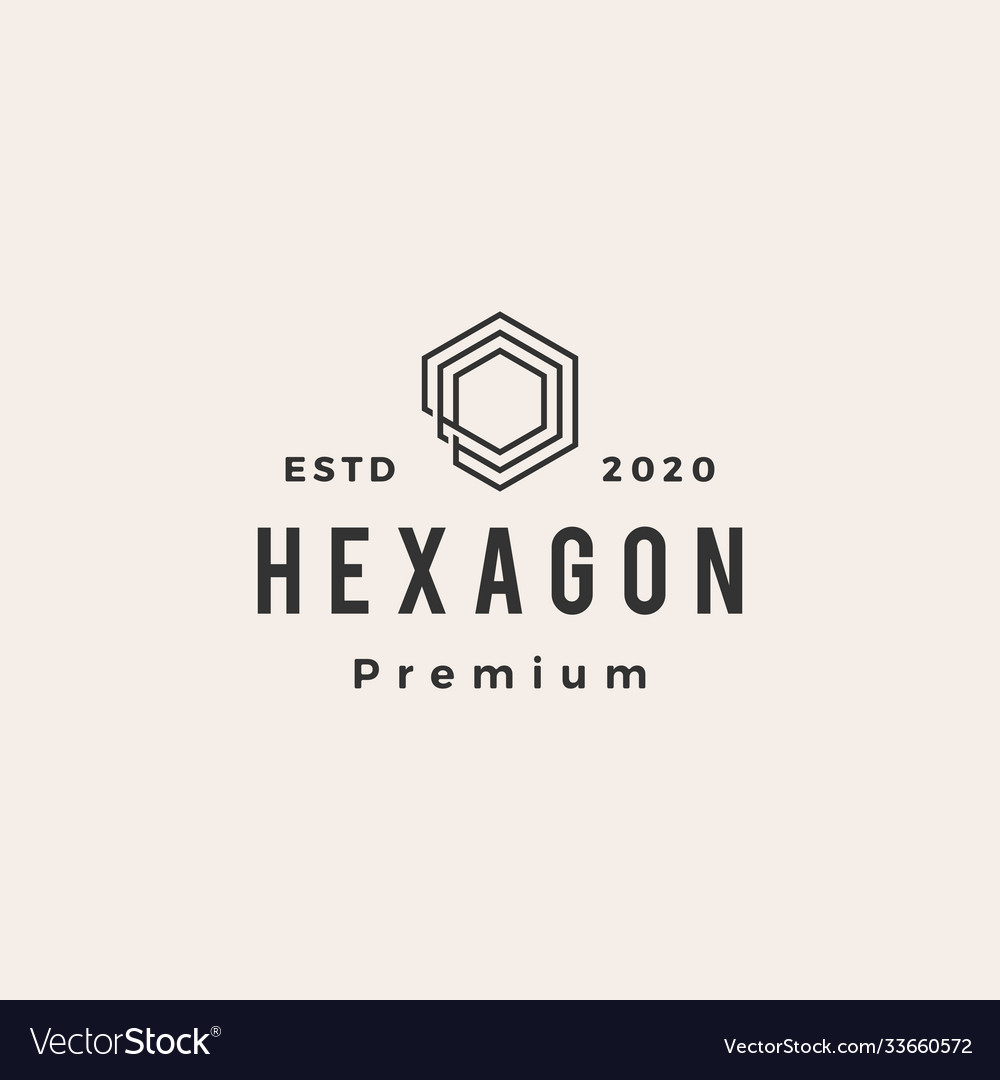 Hexagon line outline hipster vintage logo icon
