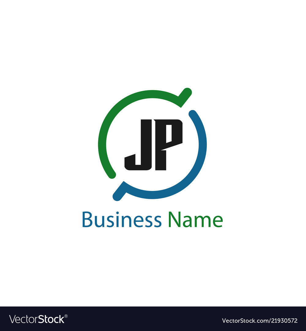 initial letter jp logo template design royalty free vector