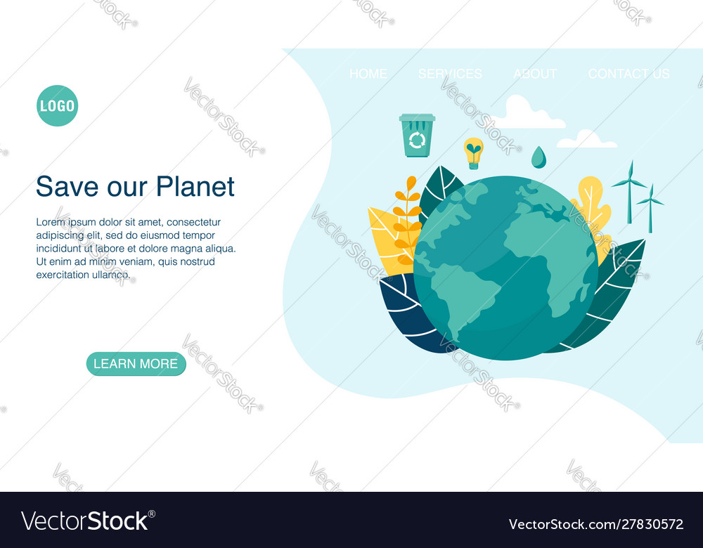 Landing page layout with planet earth concept
