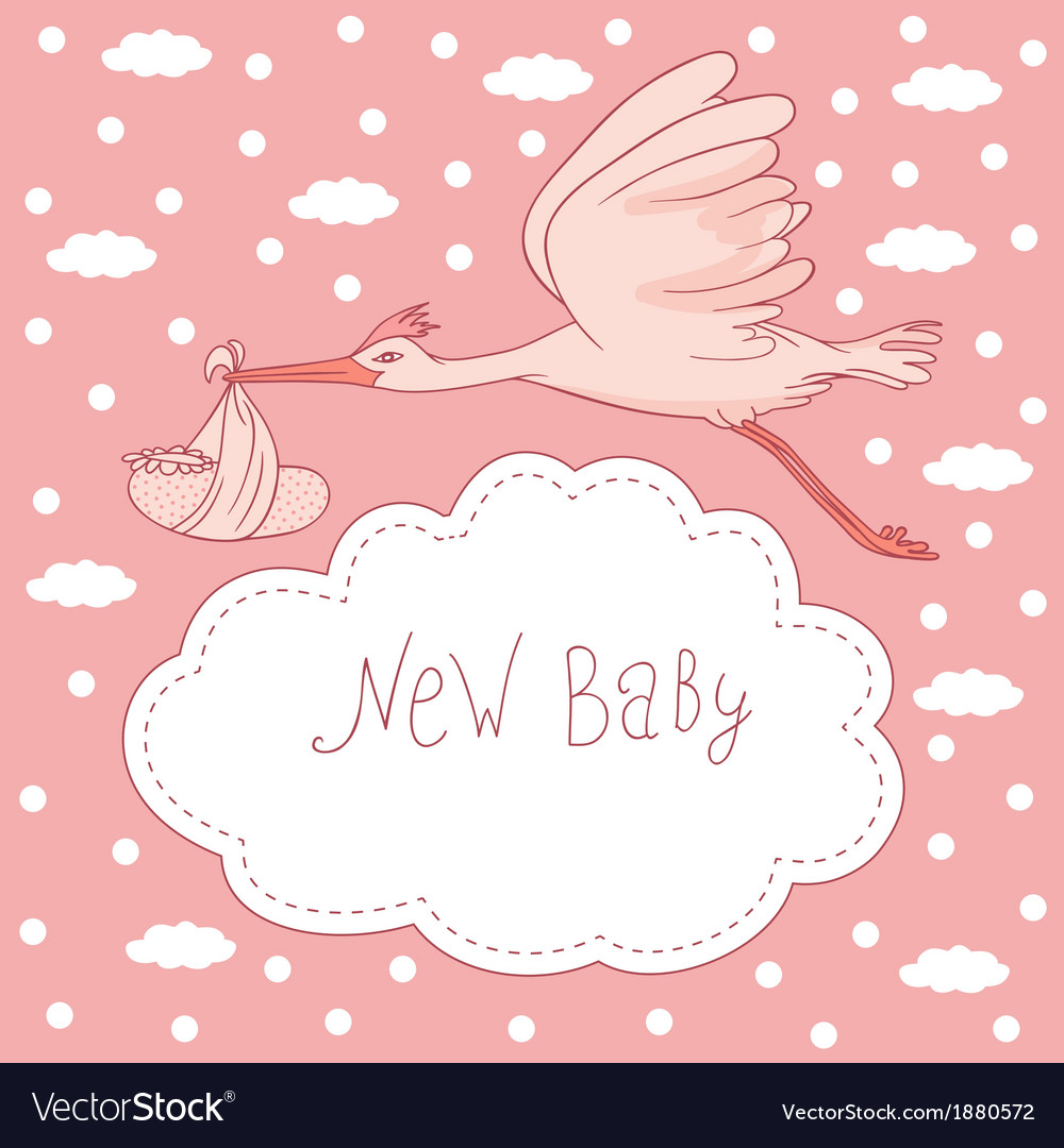 New baby stork flying with baby girl