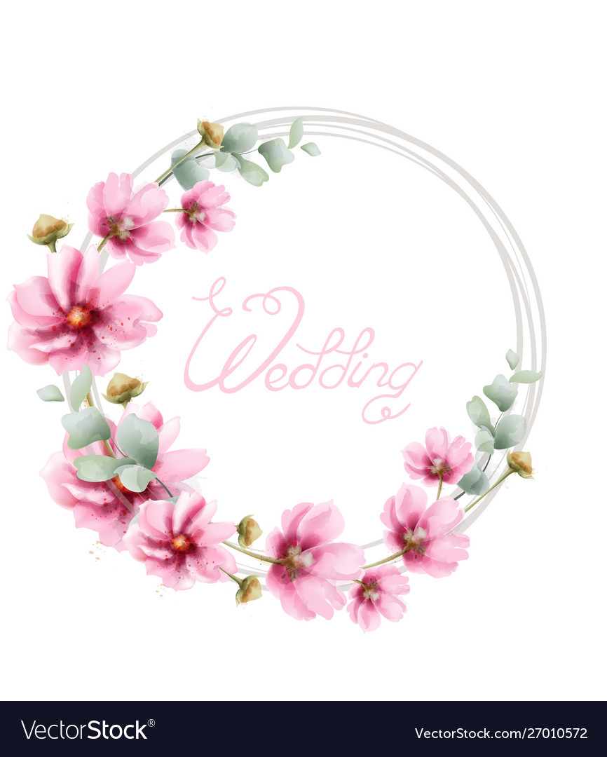 Wedding wreath with summer colorful flowers