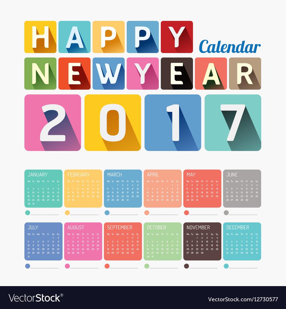 2017 Calendar colorful happy new year design