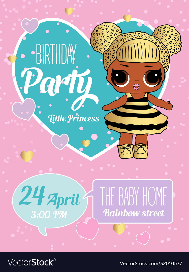 Birthday invitation with cute lol dolls element