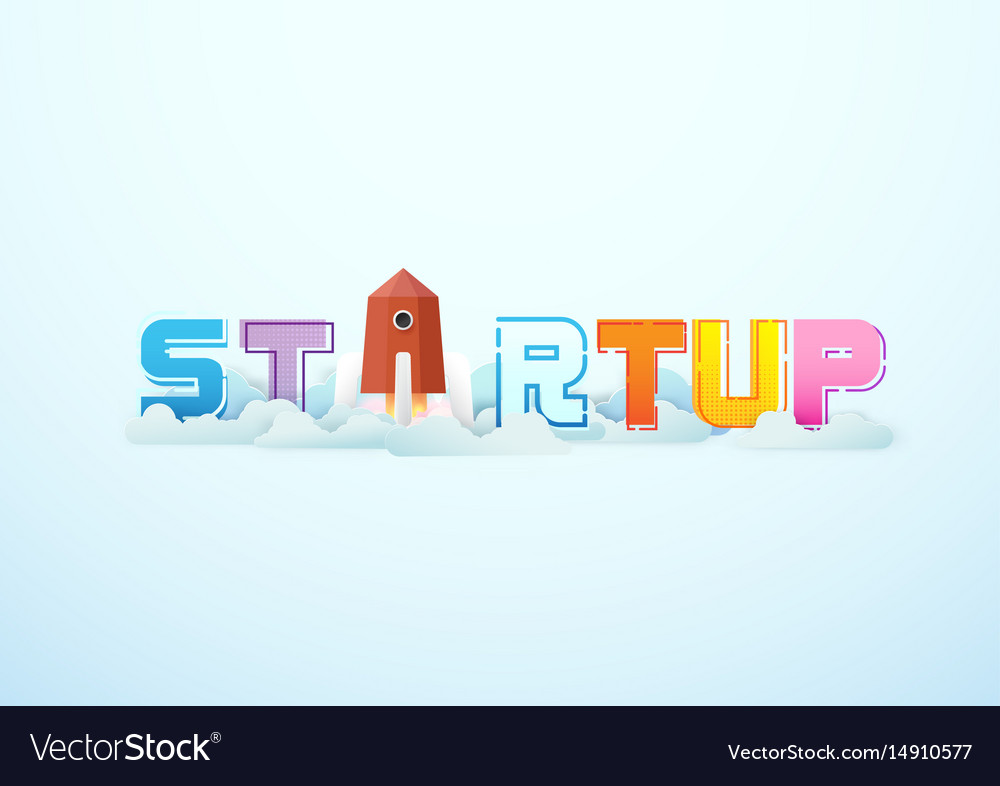 Business startup word lettering typography
