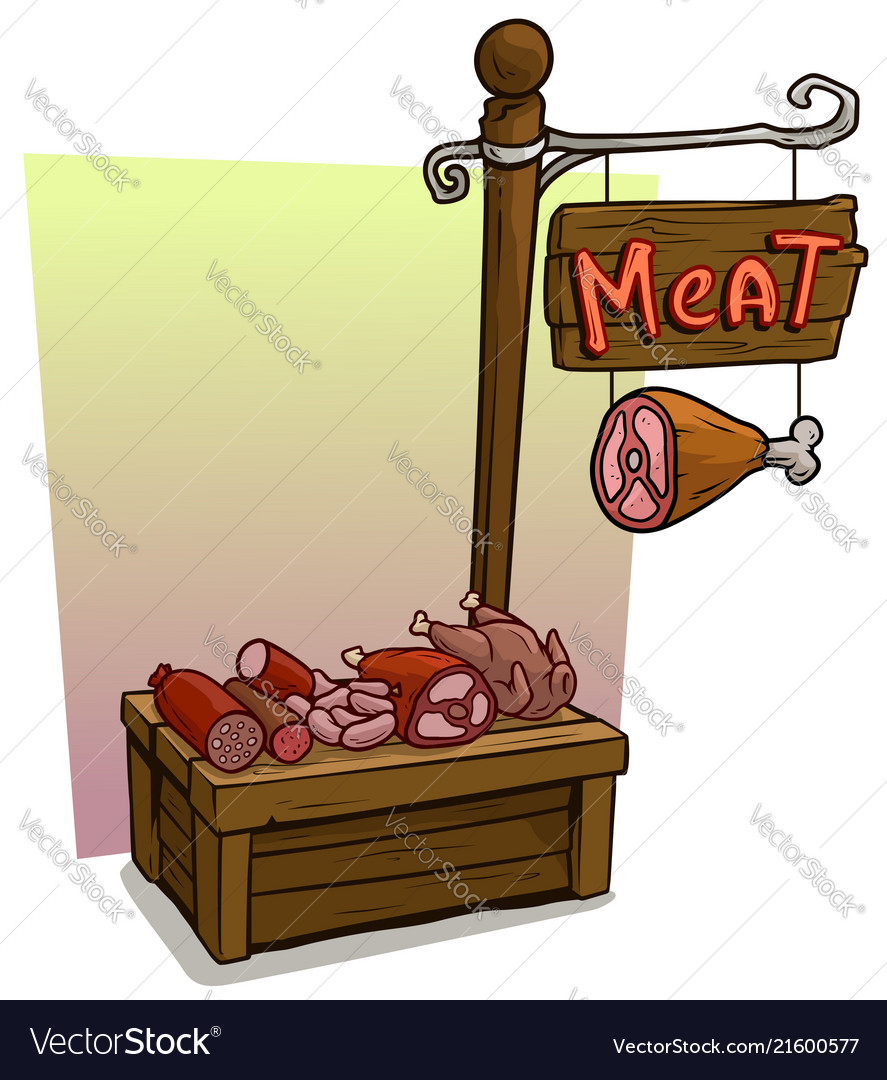 Cartoon meat vendor booth market wooden stand