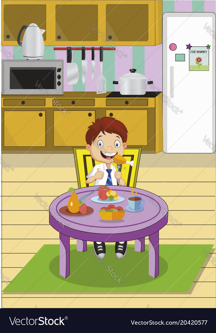 Cartoon school boy eating lunch sitting at the