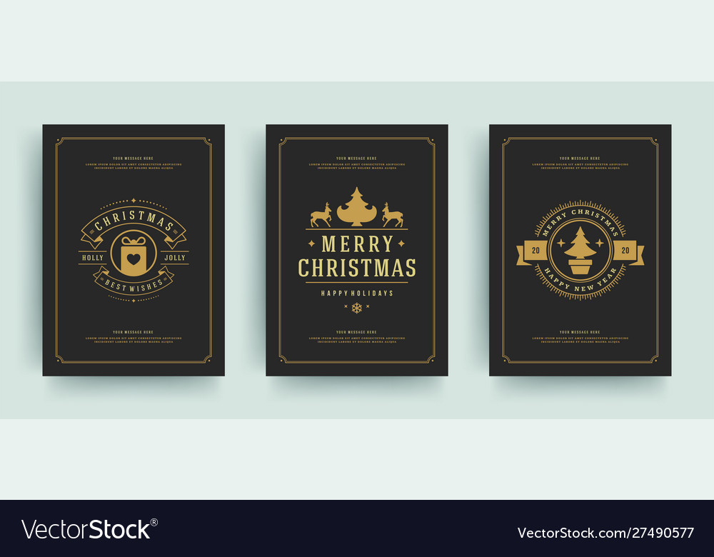 Christmas greeting cards set design template