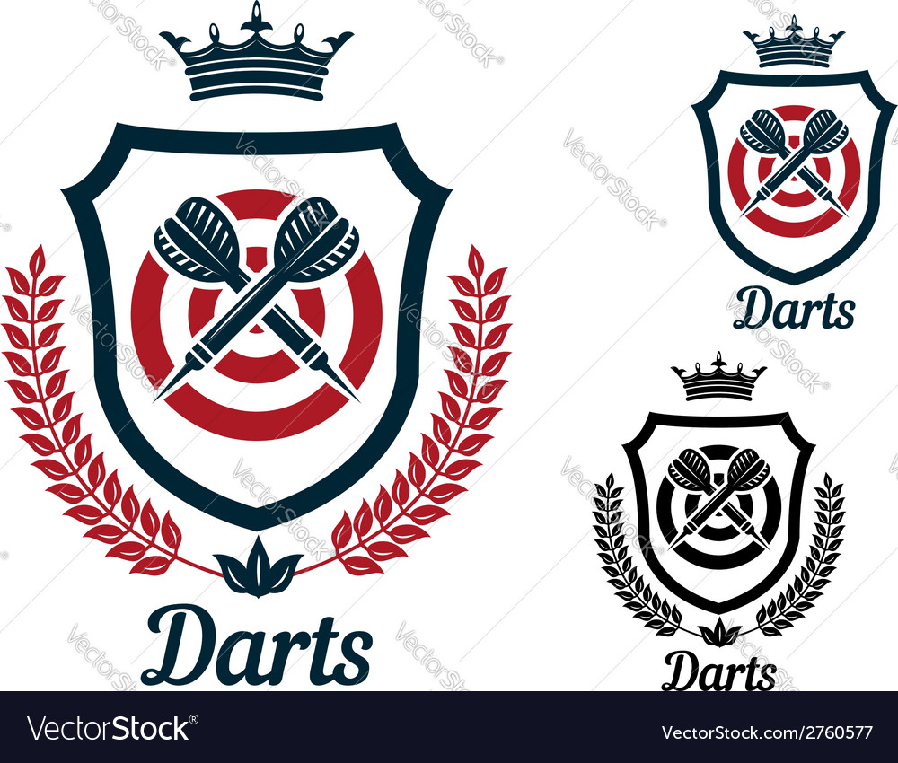 Darts emblems or signs set
