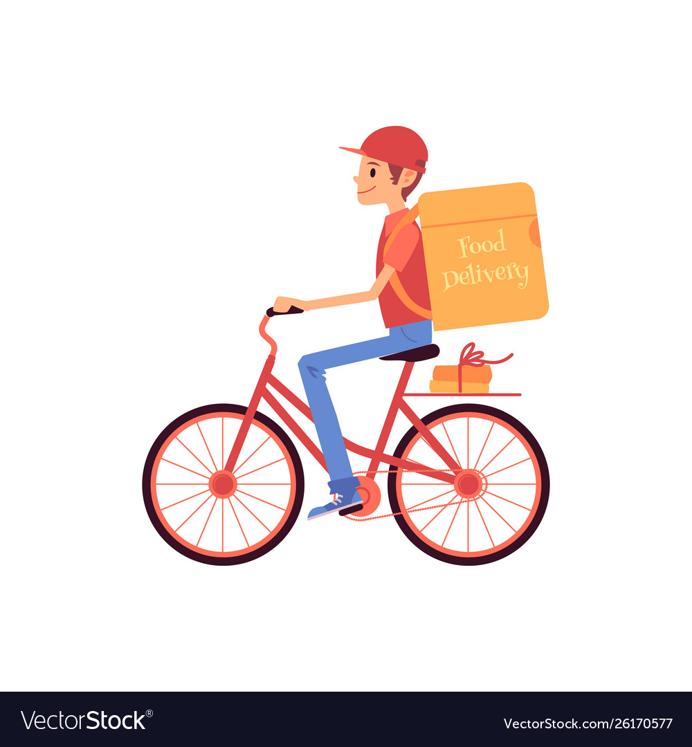 Delivery man riding bicycle and shipping thermo