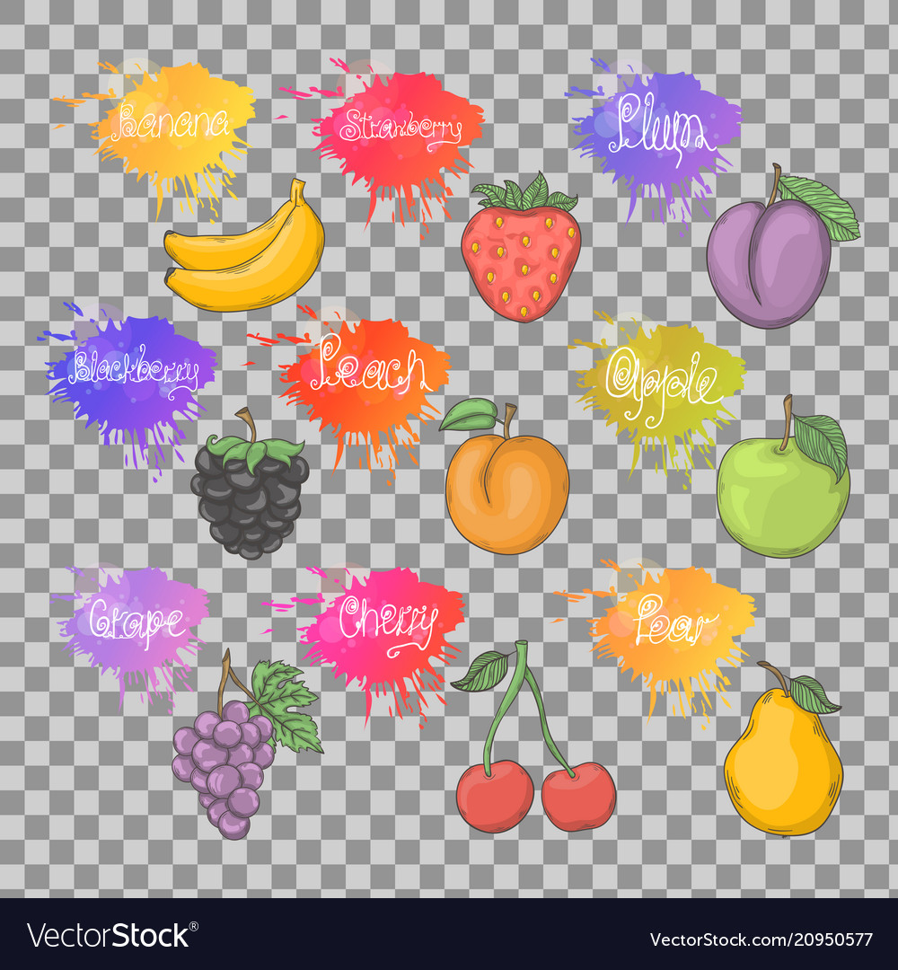 Fruits healthy set isolated