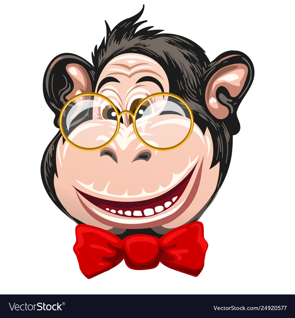 100876746217 Funny monkey with glasses and bow tie Royalty Free Vector