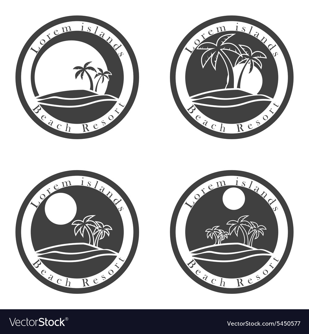 Palm trees and sun beach resort logo design