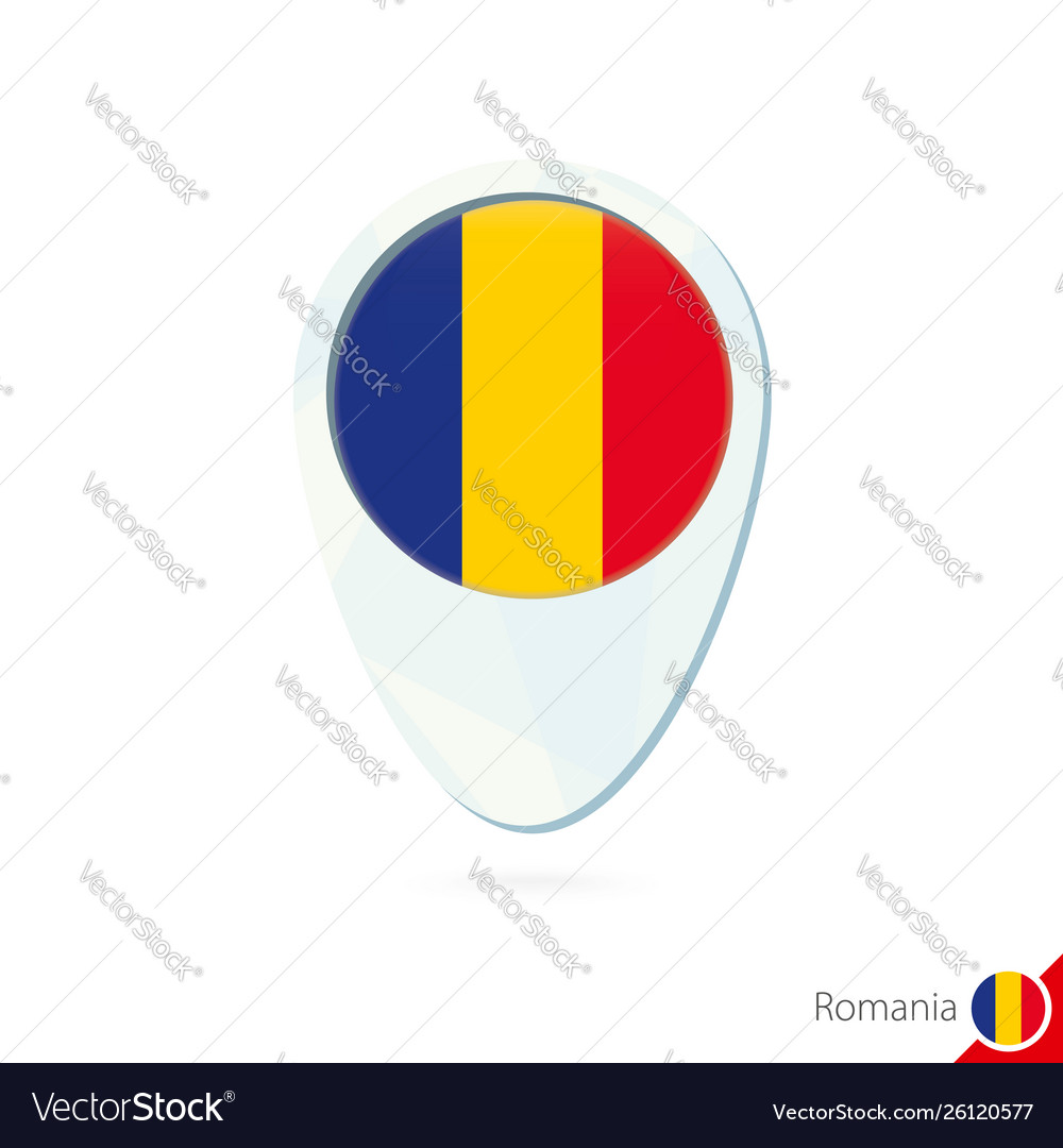 Romania flag location map pin icon on white vector image