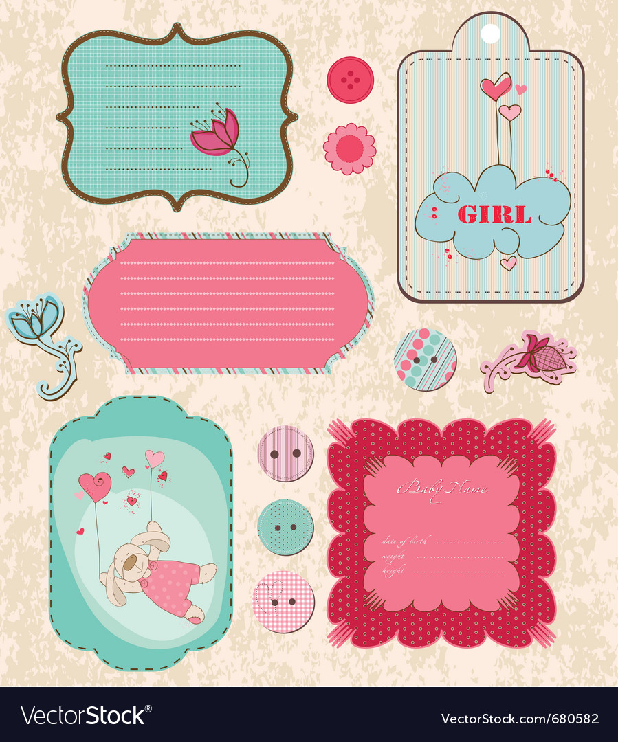 Baby Scrapbook Elements Royalty Free Vector Image