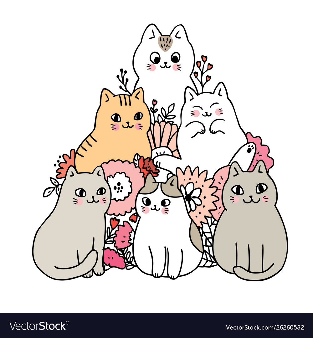 Cartoon Cute Cats And Flower Royalty Free Vector Image