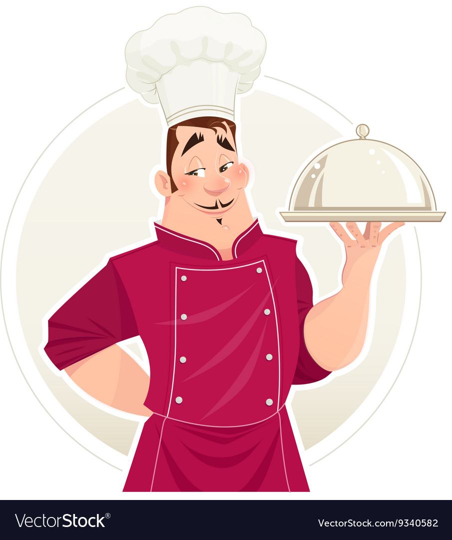 Chief cook with tray for food vector image
