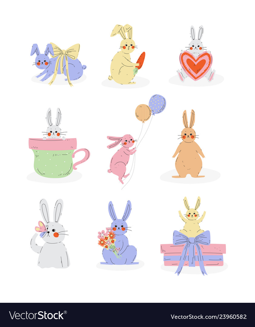 Collection cute bunnies sweet rabbits