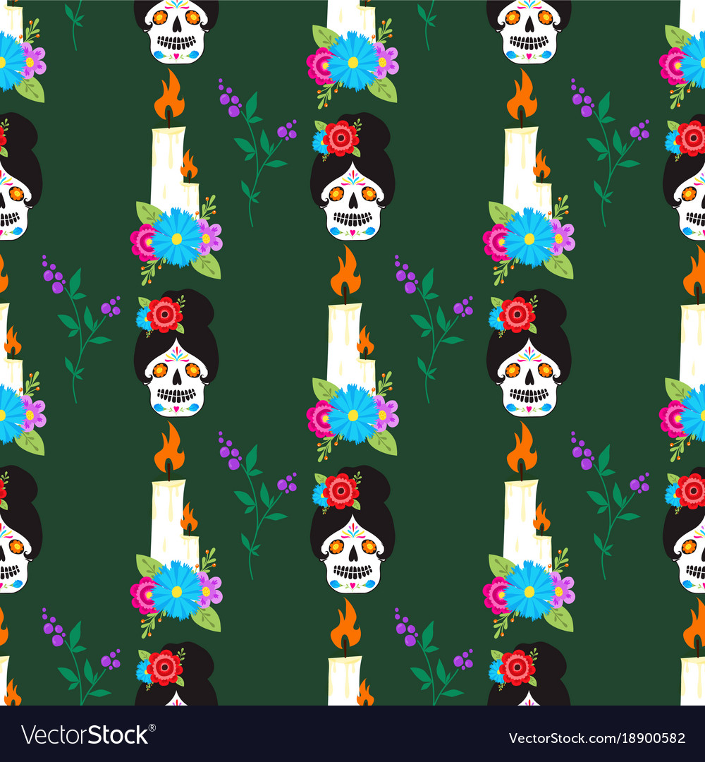 Colorful seamless pattern background dia de los