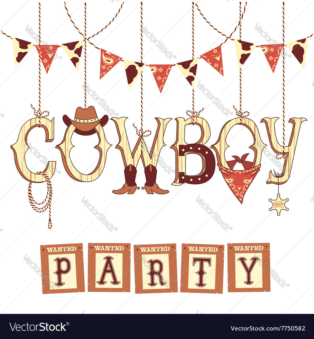 Cowboy western party text symbols isolated on