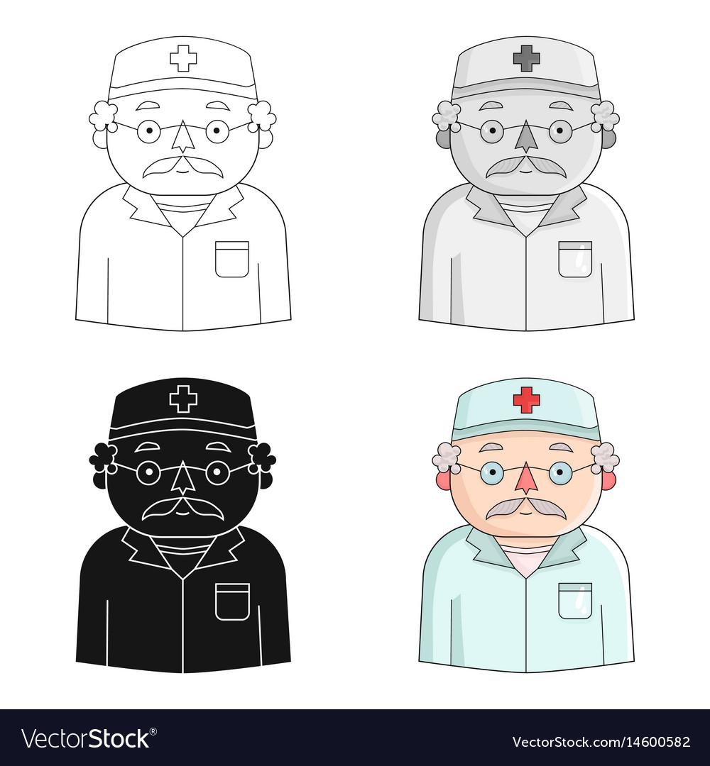 Doctor icon in cartoon style isolated on white