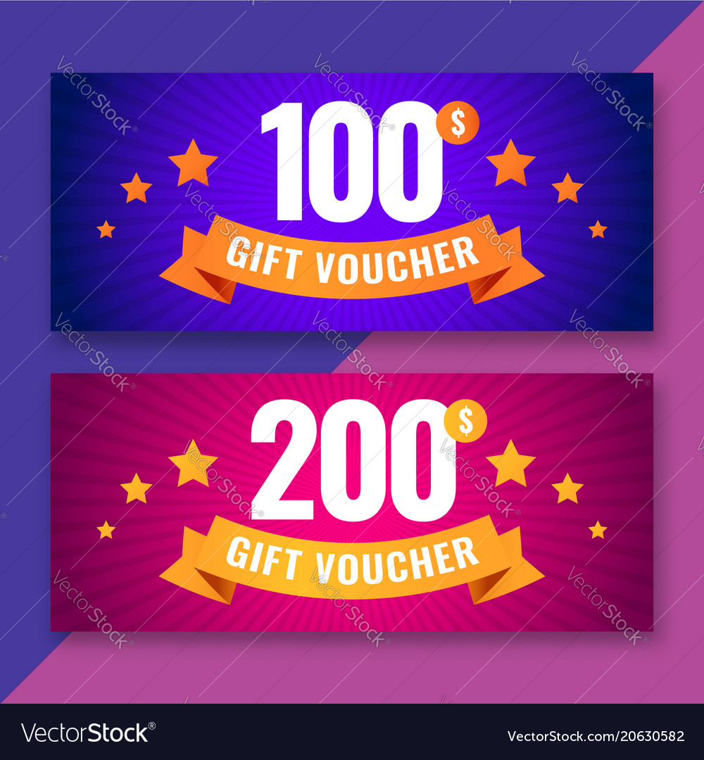 Gift voucher template 100 and 200 dollars coupons