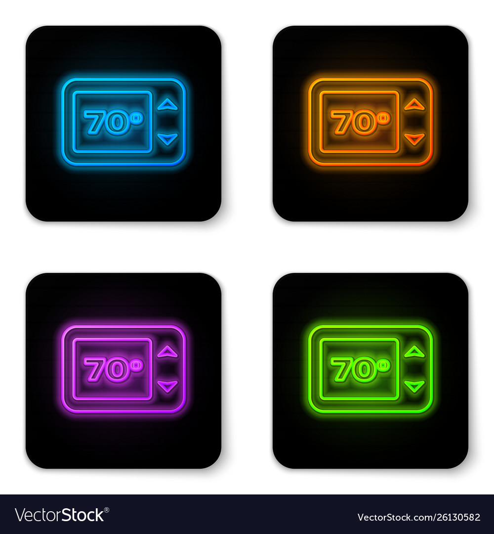 Glowing neon thermostat icon isolated on white