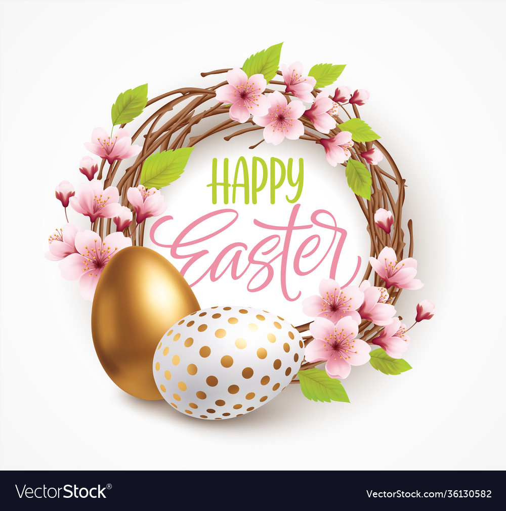 Happy easter greeting background with realistic