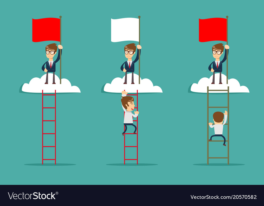 Man on the top of the cloud holding the red flag