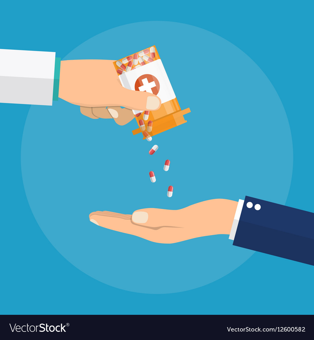 Pharmacist giving medicine pills to patient