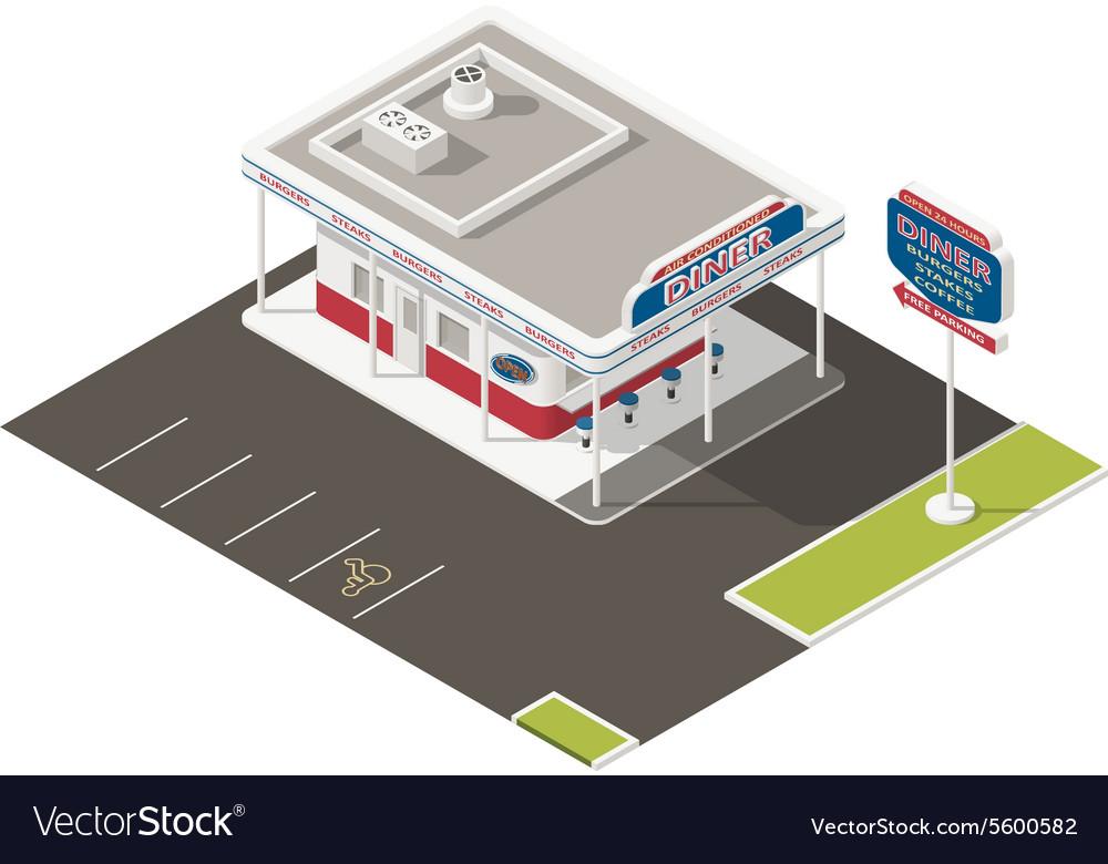 Roadside american diner isometric icons set