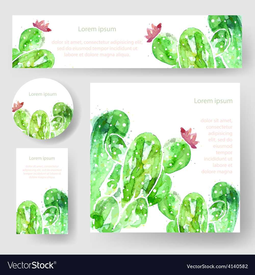 Set of watercolor cactus tags and banners