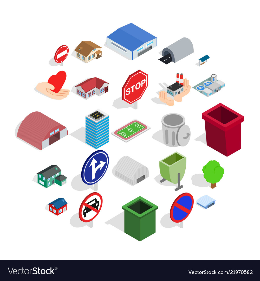Town buildings icons set isometric style